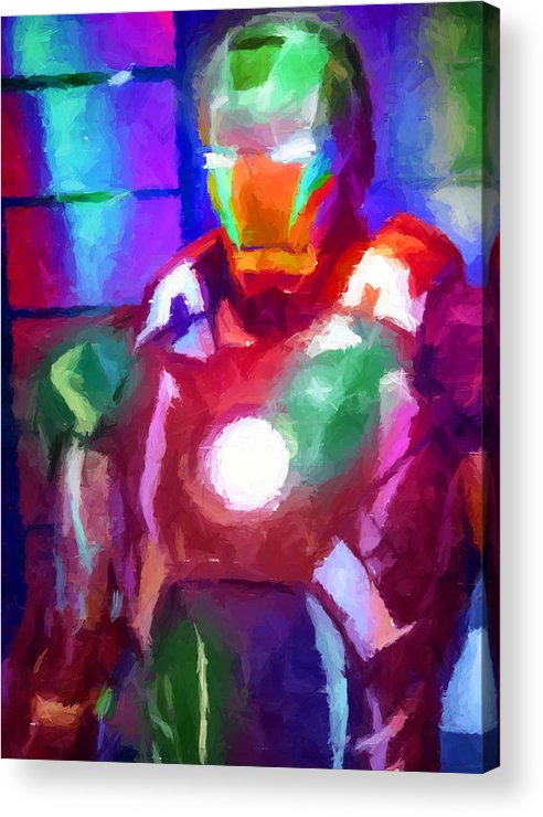 Ironman Acrylic Print featuring the digital art Ironman Abstract Digital Paint 2 by Ricky Barnard
