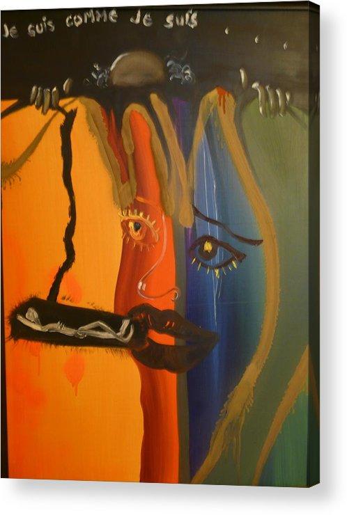 Surrealist Acrylic Print featuring the painting Je Suis Comme Je Suis ... by Zsuzsa Sedah Mathe