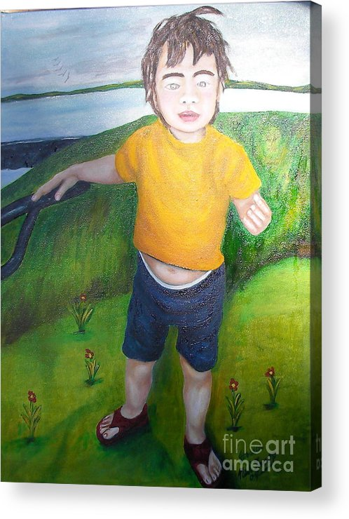 Child Acrylic Print featuring the painting Jessica Caldwell by Neil Trapp