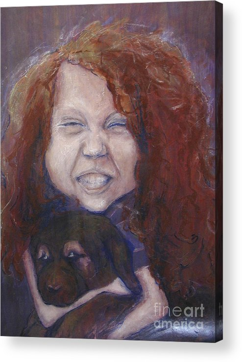 Girl Acrylic Print featuring the painting joy by Sarah Goodbread