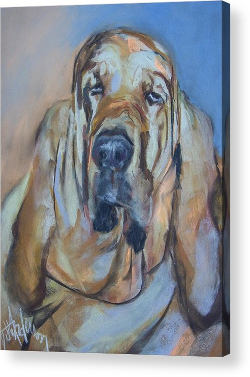 Dog Acrylic Print featuring the painting Just Another Magic Bloodhound by Debbie Anderson