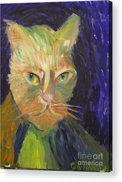 Van Gogh Acrylic Print featuring the painting Kat-van-go by Gail Eisenfeld aka G Kitty Hansen