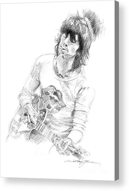 Keith Richards Acrylic Print featuring the drawing Keith Richards Exile by David Lloyd Glover