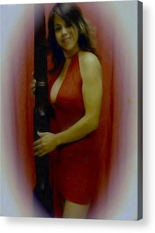Digital Painting Acrylic Print featuring the painting Lady In Red by Maribel McIntosh