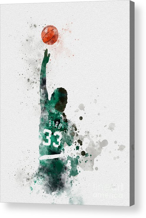 Larry Bird Acrylic Print featuring the mixed media Larry Bird by My Inspiration