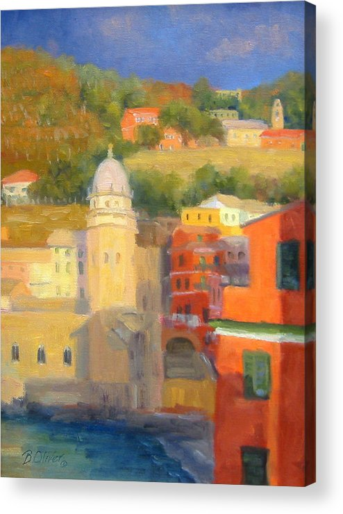 Vernazza Acrylic Print featuring the painting Last Light - Vernazza by Bunny Oliver