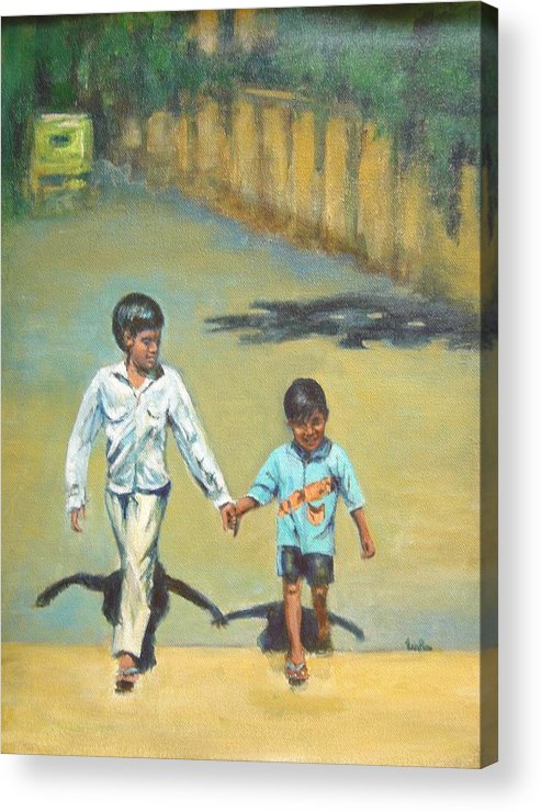 Lead Acrylic Print featuring the painting Lead Kindly Brother by Usha Shantharam