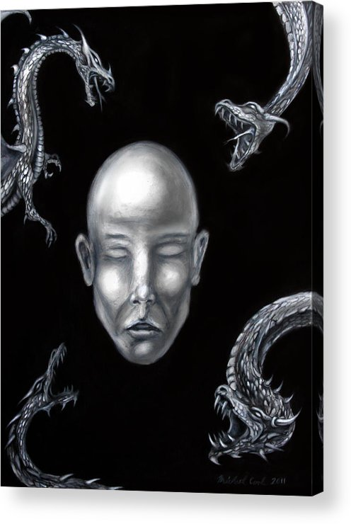 Dragons Acrylic Print featuring the drawing Liars In The Night by Michael Cook