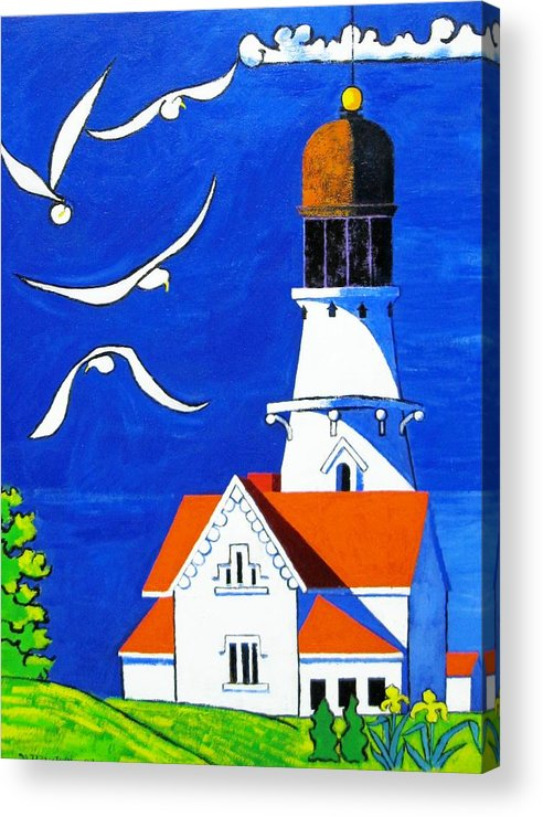 Lighthouse Acrylic Print featuring the painting Lighthouse With Seagull by Nicholas Martori