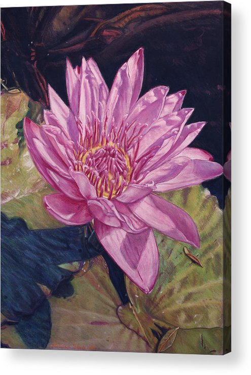 Floral Acrylic Print featuring the painting Lily And Her Shadow by Melissa Tobia