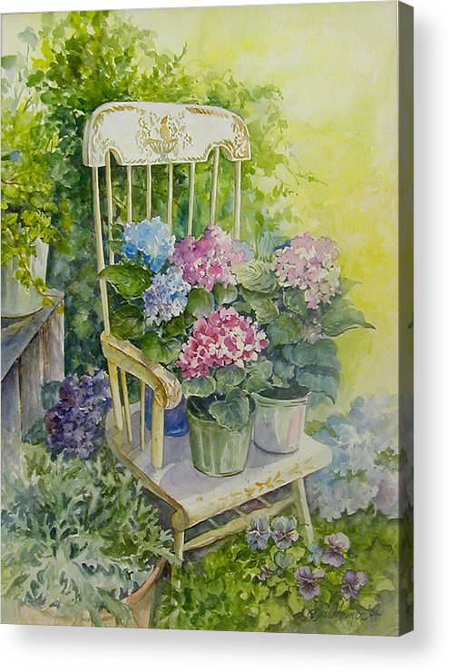Floral;flowers;rocking Chair;hydrangeas;pansies; Acrylic Print featuring the painting Linda by Lois Mountz