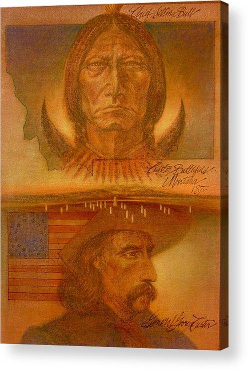 Battle Acrylic Print featuring the painting Little Big Horn Battle by Gary Kaemmer
