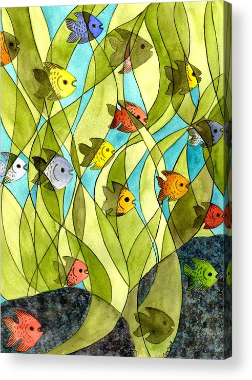 Fish Acrylic Print featuring the painting Little Fish Big Pond by Catherine G McElroy
