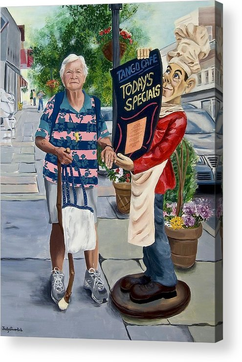 Elderly Woman Acrylic Print featuring the painting Little Lady From Saugerties by Judy Swerlick