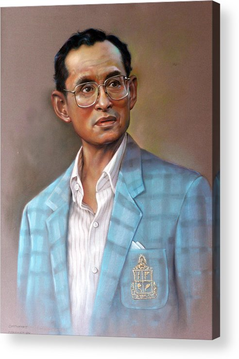 Pastel.portrait Acrylic Print featuring the painting Long Live The King by Chonkhet Phanwichien