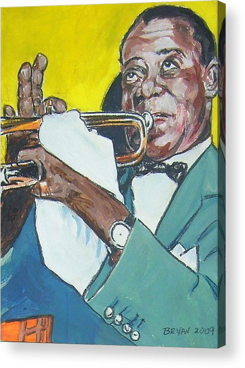 Louis Armstrong Acrylic Print featuring the painting Louis Armstrong by Bryan Bustard