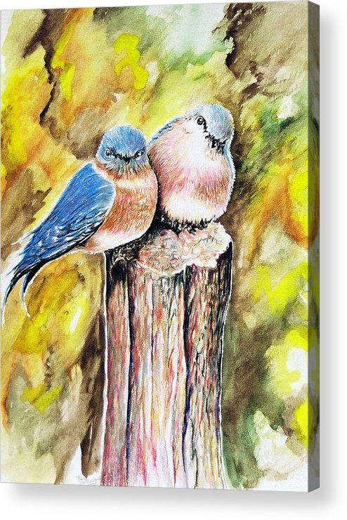Love Birds Acrylic Print featuring the painting Love Birds by Paul Sandilands