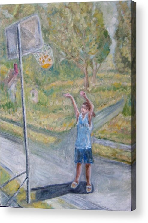 Basketball Landscape Portrait  Acrylic Print featuring the painting Making The Point by Joseph Sandora Jr
