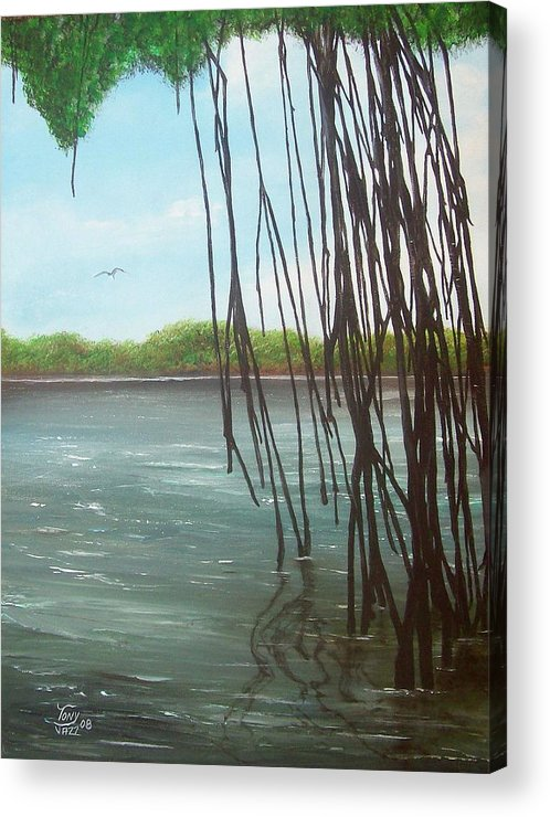 Seascapes Acrylic Print featuring the painting Mangroves by Tony Rodriguez