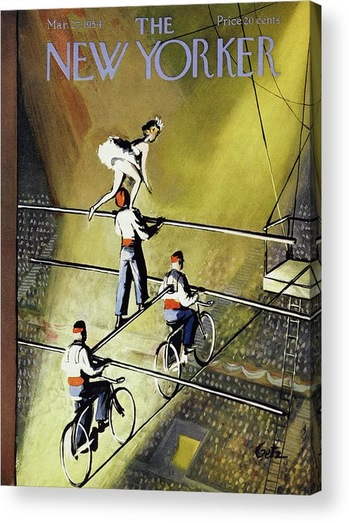 Trapeze Acrylic Print featuring the painting New Yorker March 27 1954 by Arthur Getz
