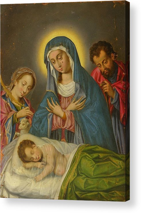 Religion Acrylic Print featuring the painting Maria San Jose Y Santa Ines Contemplando Al Nino by Unknown