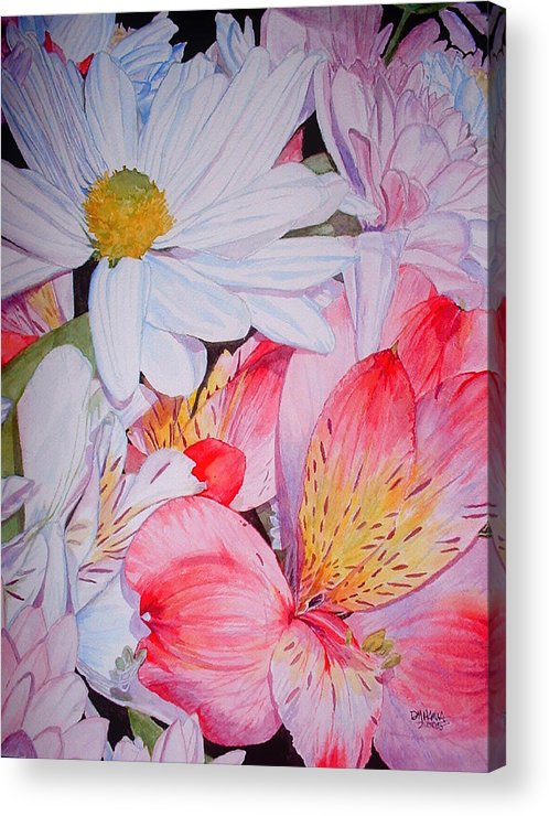 Garden Acrylic Print featuring the painting Market Flowers - Watercolor by Donna Hanna