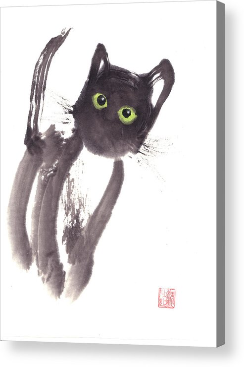 A Curious Black Kitten. This Is A Contemporary Chinese Ink And Color On Rice Paper Painting With Simple Zen Style Brush Strokes.  Acrylic Print featuring the painting Midnight by Mui-Joo Wee