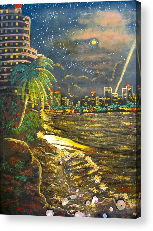 City Lights Acrylic Print featuring the painting Midnight Sun by V Boge