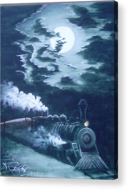 Landscape Acrylic Print featuring the painting Midnight Train by KC Knight
