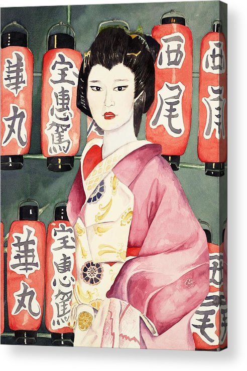 Geisha In Kimono With Red Lanterns Acrylic Print featuring the painting Miss Hanamaru At Osaka Festival by Judy Swerlick