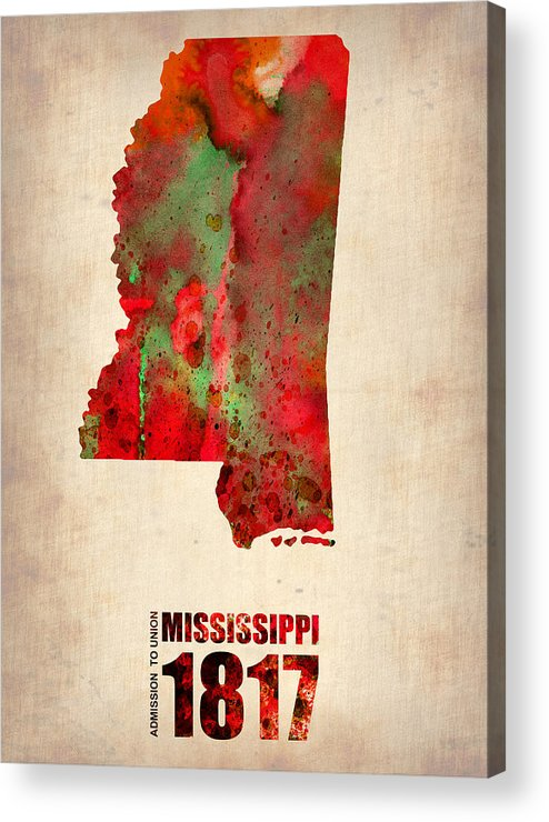 Mississippi Acrylic Print featuring the digital art Mississippi Watercolor Map by Naxart Studio
