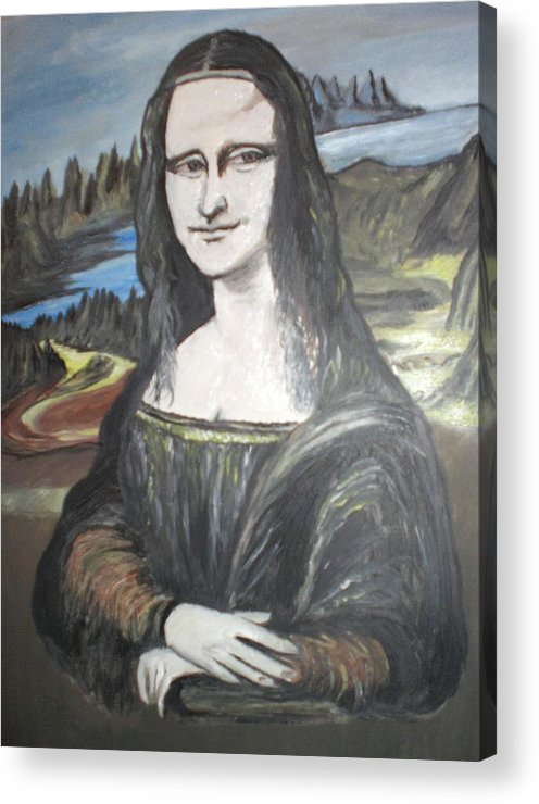 Mona Lisa Acrylic Print featuring the painting Mona Lisa by Colin O neill