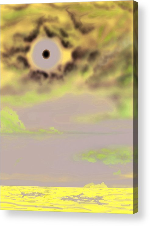Ocean Acrylic Print featuring the digital art Moon Clouds And Sea by Larry Ryan