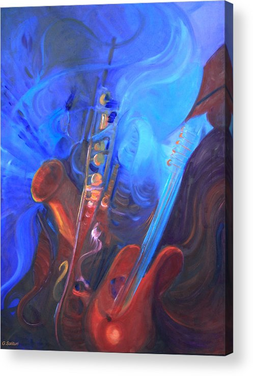 Abstract Acrylic Print featuring the painting Music For Saxy by Gail Salitui