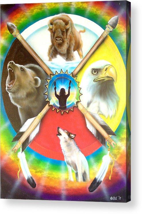 Native American Indian Medicine Wheel Acrylic Print featuring the painting Native American Medicine Wheel by Amatzia Baruchi