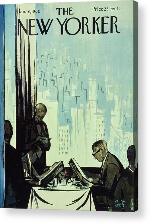 Illustration Acrylic Print featuring the painting New Yorker January 16 1960 by Arthur Getz