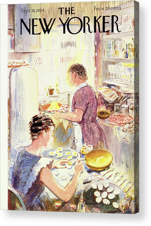 Hostess Acrylic Print featuring the painting New Yorker September 18 1954 by Garrett Price