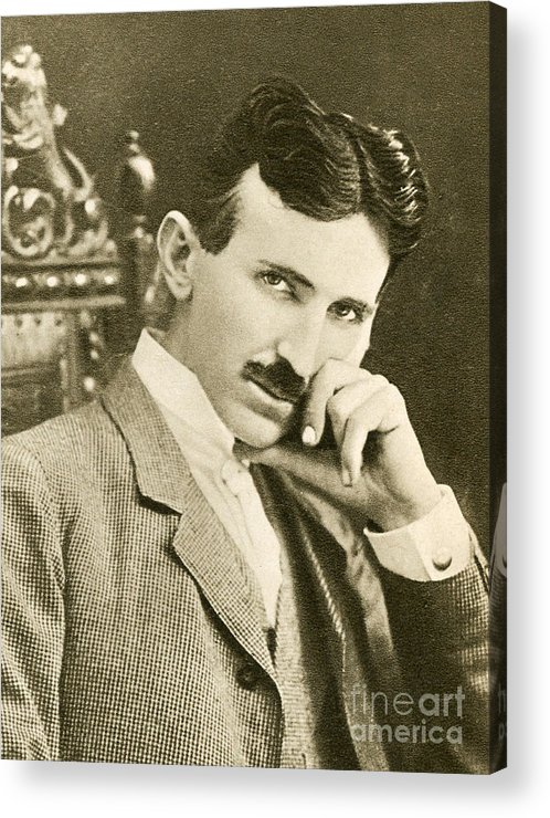 Science Acrylic Print featuring the photograph Nikola Tesla, Serbian-american Inventor by Photo Researchers