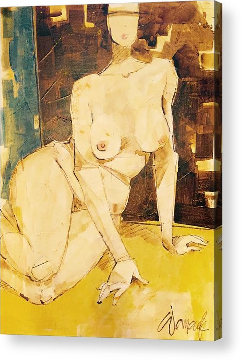 Nudes Acrylic Print featuring the painting Nude Series, #3 by Kathy Womack