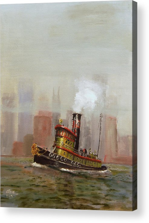 Tug Acrylic Print featuring the painting Nyc Tug by Christopher Jenkins