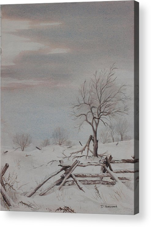 Rail Fence Acrylic Print featuring the painting Old Friends by Debbie Homewood