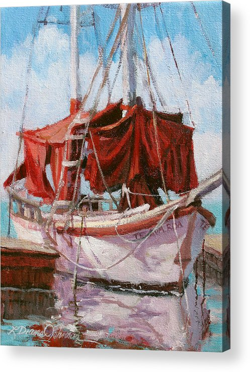 Old Boat Acrylic Print featuring the painting Old Salt by L Diane Johnson