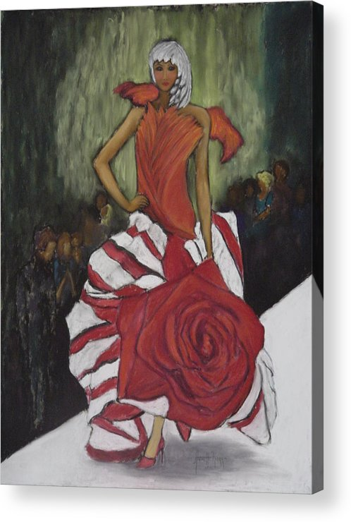 Fashion Show Acrylic Print featuring the painting On The Runway by Annette Kagy
