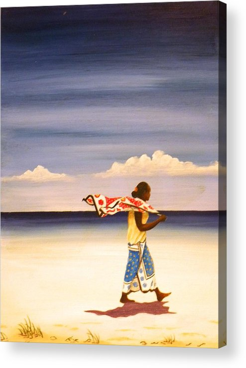 Beach Acrylic Print featuring the painting On The Way Home by Anina von Wachtel Diani Beach Art Gallery