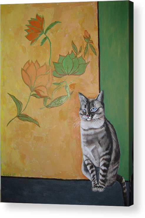 Cat Acrylic Print featuring the painting Oomka by Aliza Souleyeva-Alexander