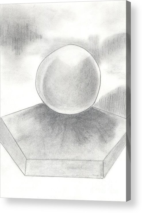 Chalk Acrylic Print featuring the drawing Orb On Platform by Mary Zimmerman