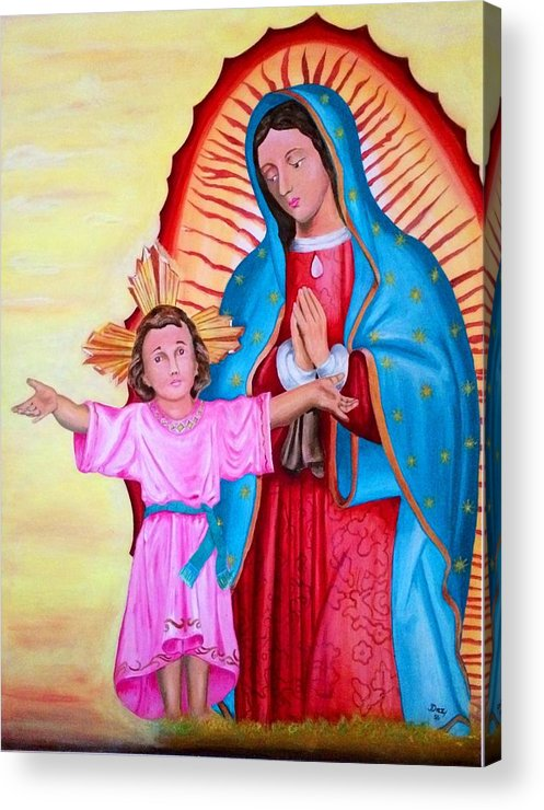 Our Lady Of Guadalupe Acrylic Print featuring the painting Our Lady Of Guadalupe And Child by Jorge Diez