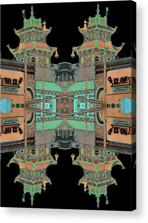 China Town Acrylic Print featuring the photograph Pagoda Tower Becomes Chinese Lantern 1 Chinatown Chicago by Marianne Dow
