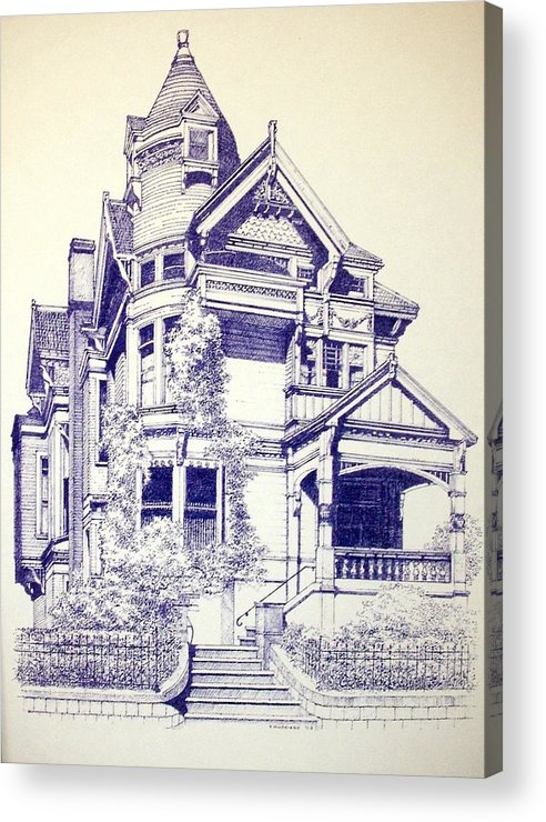 Victorian Mansions Houses Architecture Homessan Francisco Acrylic Print featuring the painting Painted Lady by Tony Ruggiero