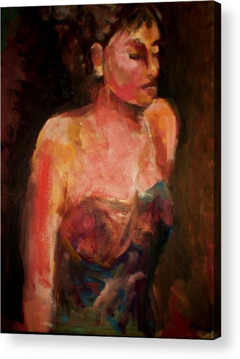 Colorful Impressionistic Figurative Acrylic Print featuring the painting Party Girl by Renee Rowe